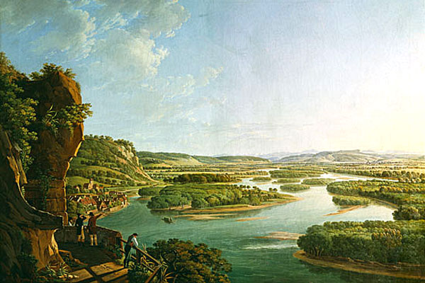 An artists impression of the view upstream from Istein towards Basel in 1820.jpg